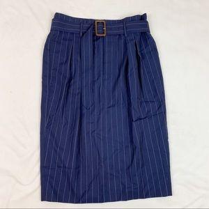 Polo Ralph Lauren belted striped pencil skirt